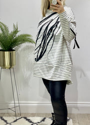 Chelsea Candy Stripe Scribble 100% Natural Lounge Top