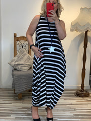 Lagenlook Quirky Boho Parachute Long Stripe Dress