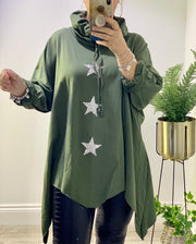 Gillian Three Star Casual Oversized Swing Zig Zag High Neck Hoodie Top