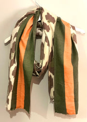 Long Cashmere Animal Print Boarder Scarf