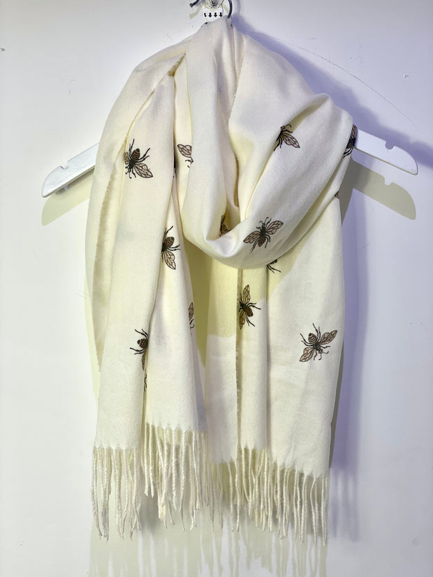 Gucci Bee Design Cashmere oversized Scarf