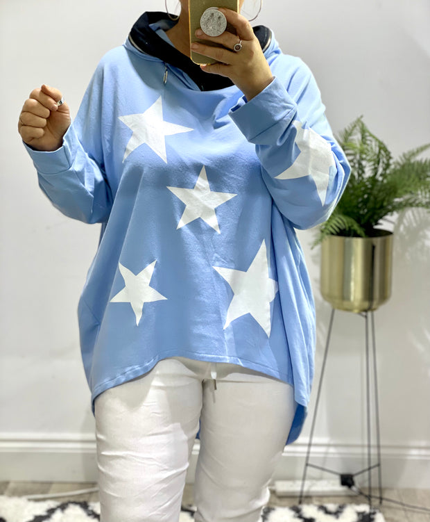 Bright Stars Zip neck detail hoodie High Low Tunic By Made in Italy