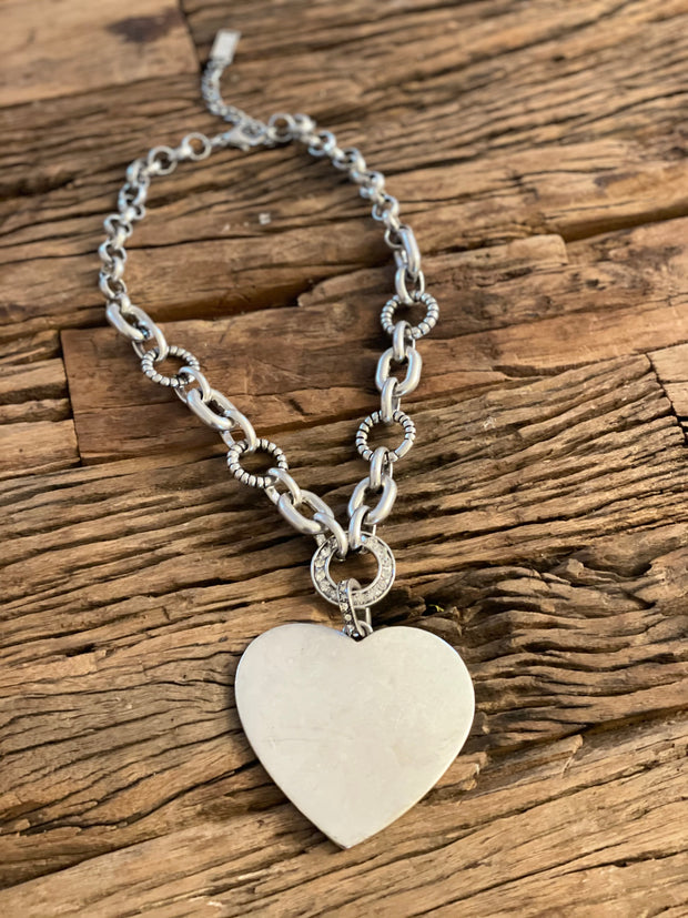 Big Metal Silver Heart Necklace