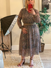 Gucci Inspired Animal Print Blouson Style Dress With large Waste Band