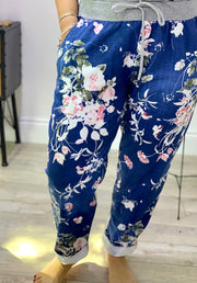 Plus Size Magic Tracksuit Jogger Pretty Flower Blue Cargo Pants trousers