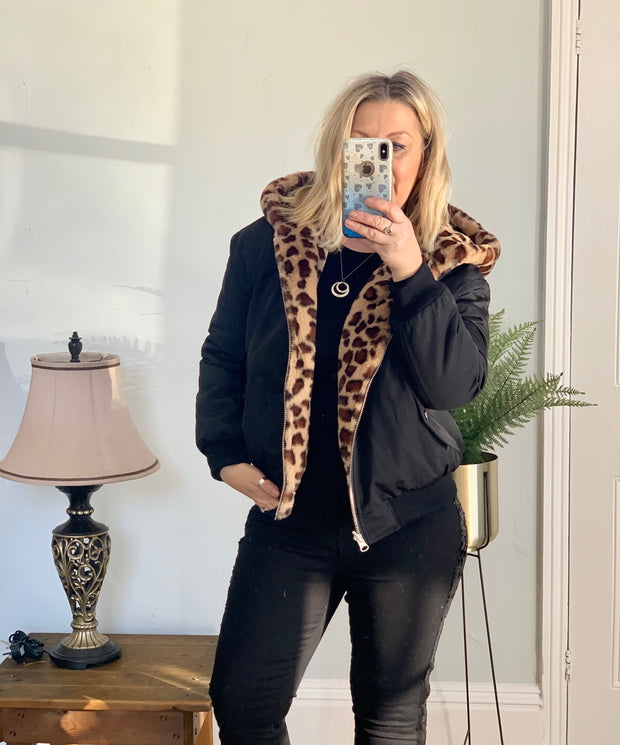 Luxury Faux Fur and Polyester Reversible Bomber Jacket Animal Print by Jayley