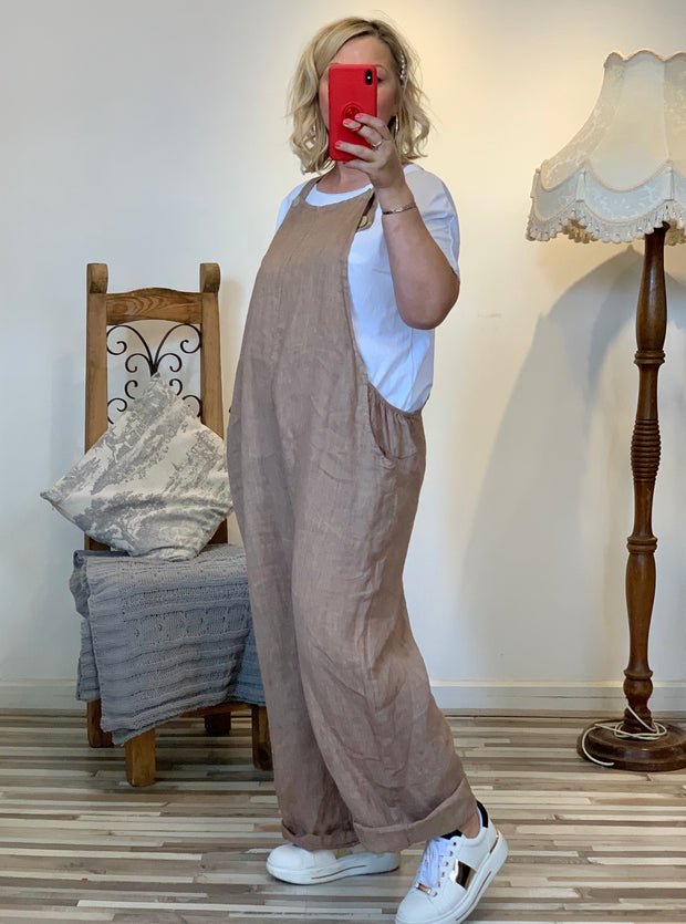 Dungarees in Linen Cotton Made In Italy celeb style Casual Playsuit Overalls