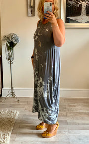 Lagenlook Quirky Boho long Parachute tie Dye Laura Maxi Dress Bleached Stripe effect