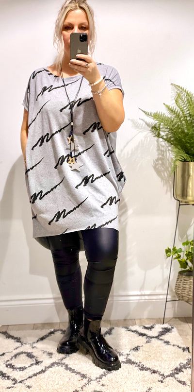 The Cursive Scribble Tunic Pocket Top