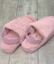 Ugg Inspired Elastic Back Slippers in Faux Fur Pink