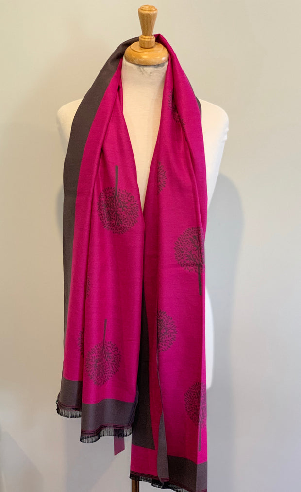 Long Tree of Life Scarf Reversible Shawl Wrap Autumn  Winter Mulberry Style