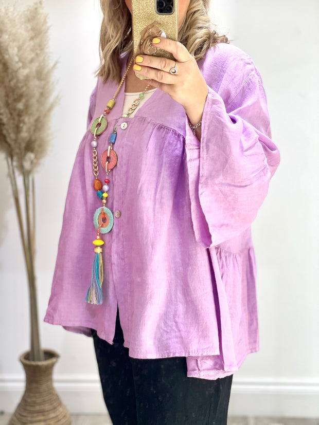 Eden Boho linen Peasant Oversized Swing Top