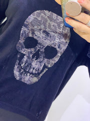 Basics Crystal Bling Skull Top