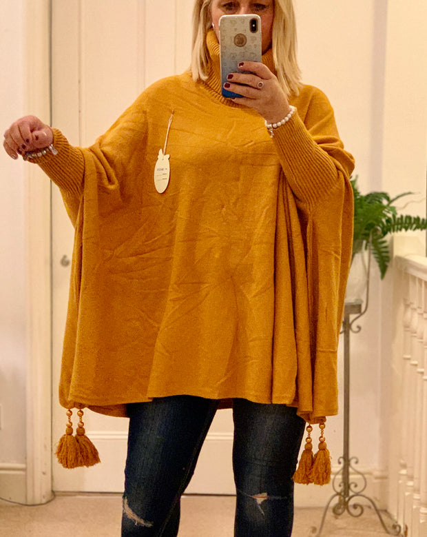 Roll Neck Long Sleeve Juliette Oversized Jumper With Tassle Detail