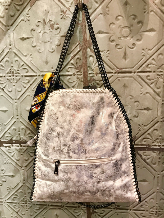 Stella Style Handbag White With Silver Shimmer with Free Scarf
