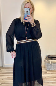 Gucci inspired Blouson Style Dress With large Waste Band