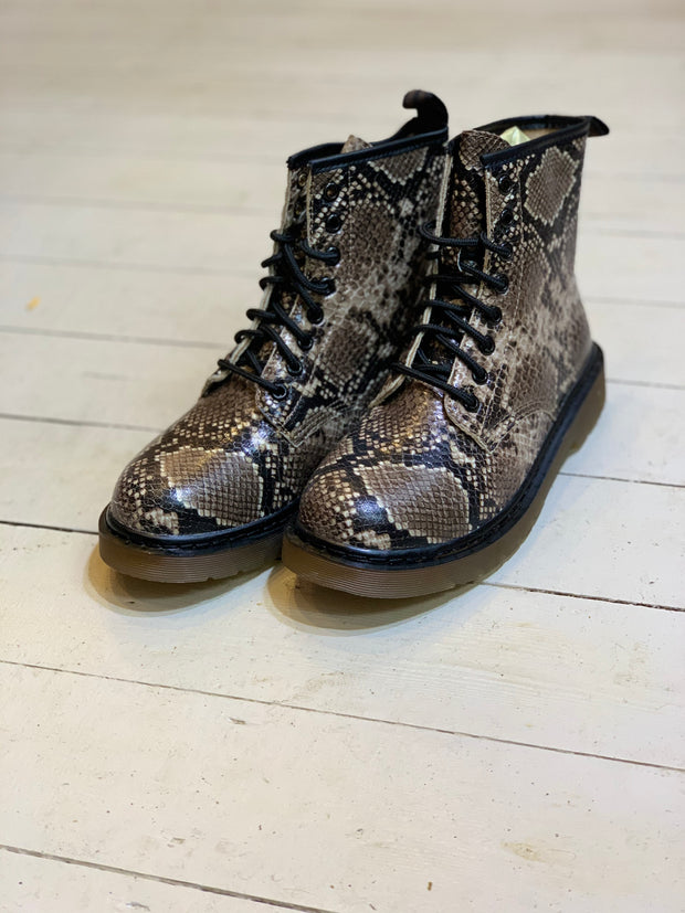 Snake Skin Pattern Doc Martin Style Lace Up Boot