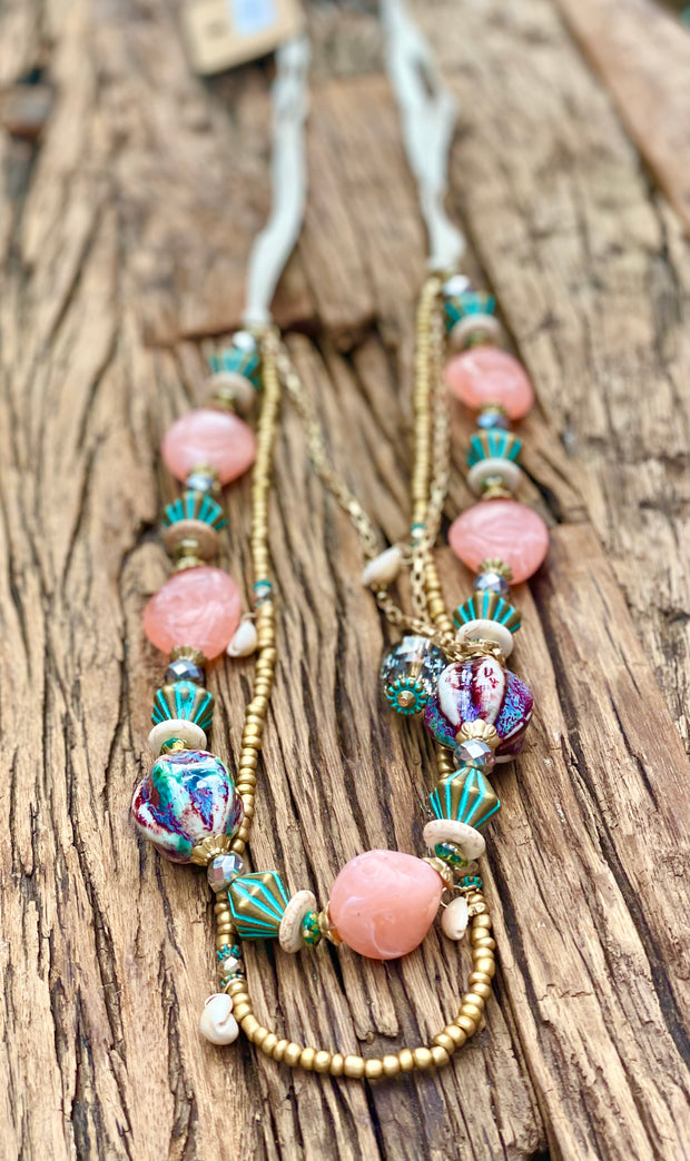 Eden Pink and Gold Ceramic and Pink layered Beads