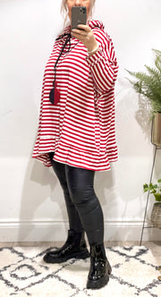 Chelsea Candy Stripe Peplum Frill Stripe Lounge Hoodie Top
