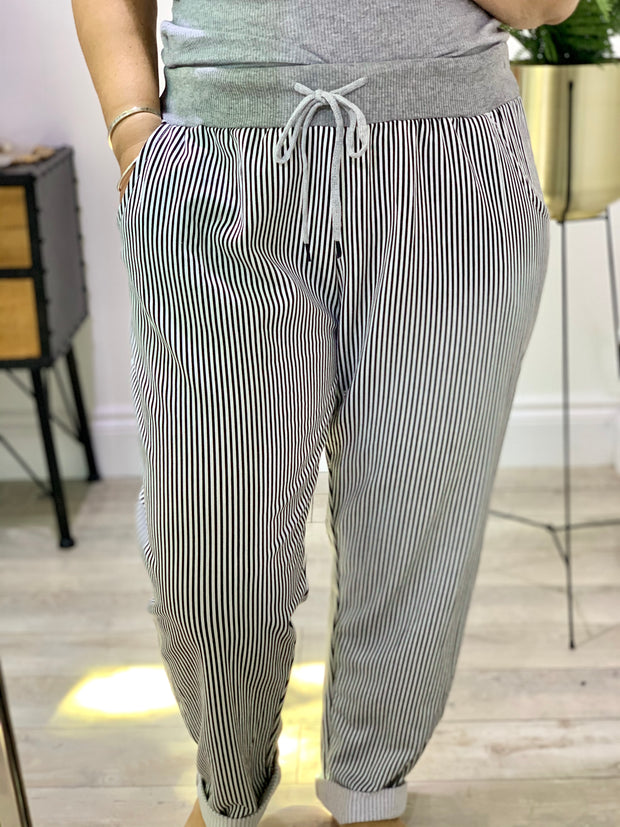 Plus size Magic Tracksuit Jogger black and white Stripe Cargo Pants trousers