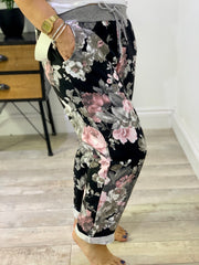 PLUS SIZE Magic Stretch black floral Jogger trousers