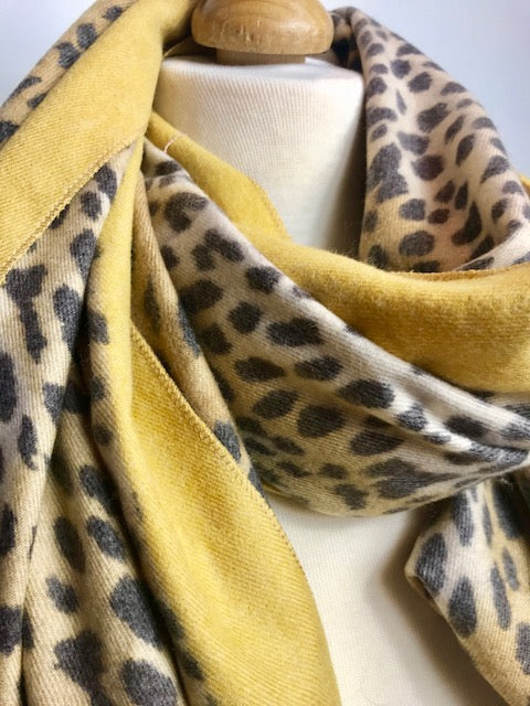 Long Mustard Scarf with Leopard Print