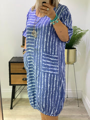 Linen Classic Stripe Smock Style Pocket Amis Dress CLICK FOR MORE COLOURS