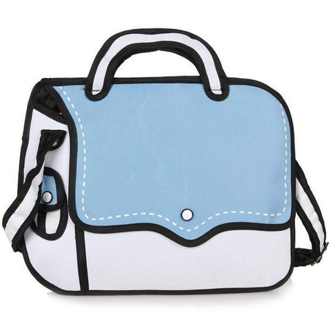 Blue 2D Cartoon Shoulder Bag