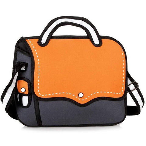 Orange 2D Cartoon Shoulder Bag