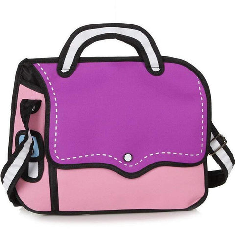 Purple 2D Cartoon Messenger Bag