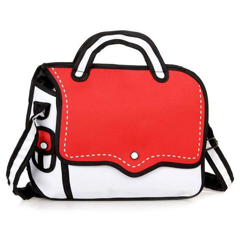 Red 2D Cartoon Messenger Bag