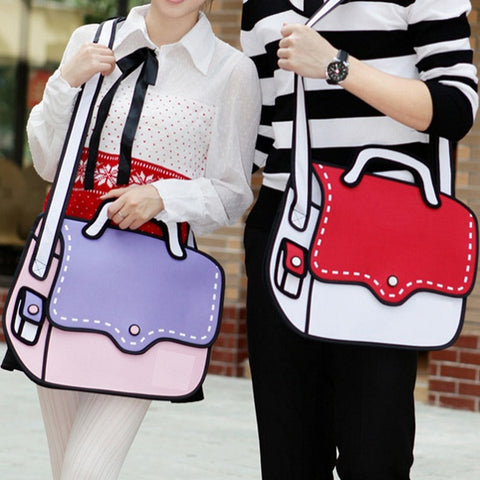 2D Cartoon Messenger Bag
