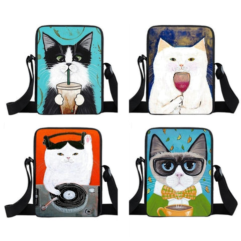 Cute Abstract Cat Messenger Bag