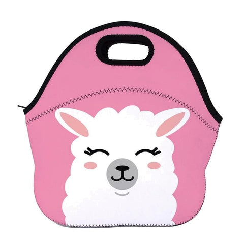 Pink Insulated Neoprene Llama / Alpaca Lunch Bag
