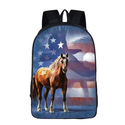 Red, White and Blue Horse Backpack