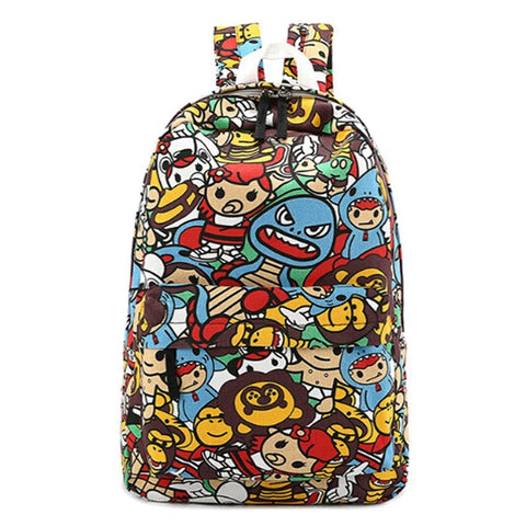 Colorful Anime Cartoon Print Backpack