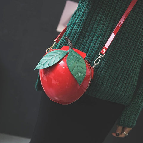 "Apple Shape Mini Purse / Messenger Bag (8"")"
