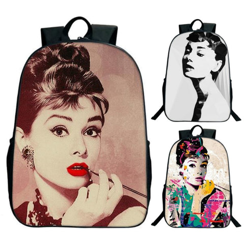 Stylish Audrey Hepburn Print Backpack