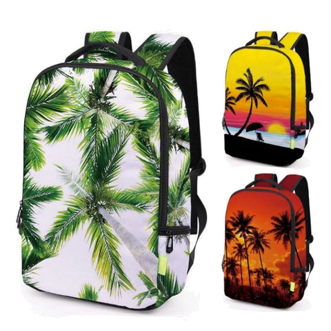 "Wrap-Around Beach / Palm Tree Print Backpack (17"")"
