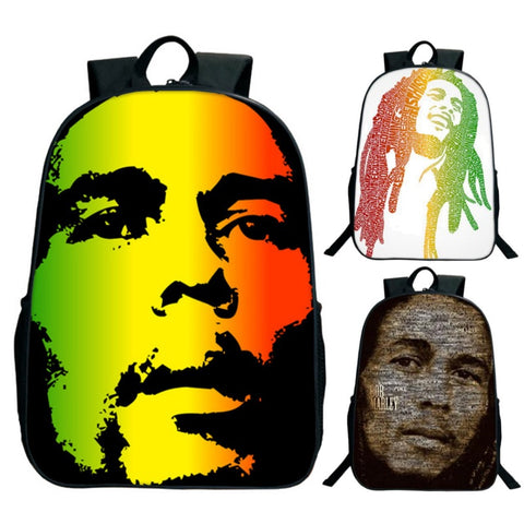 "Bob Marley Reggae Print Backpack (16"")"