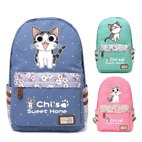 "Chi's Anime Cat Backpack w/ Flowers (17"")"
