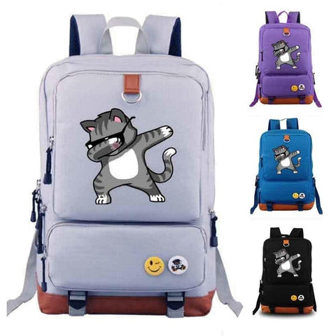 Canvas Dabbing Cat Backpack