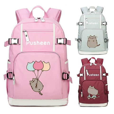 High Quality Canvas Pusheen Cat Backpack