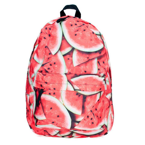 Canvas Watermelon Print Backpack