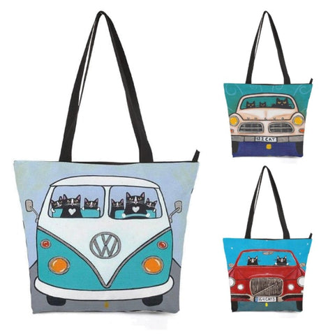 Car Driving Cartoon Cat Shoulder / Tote Bag