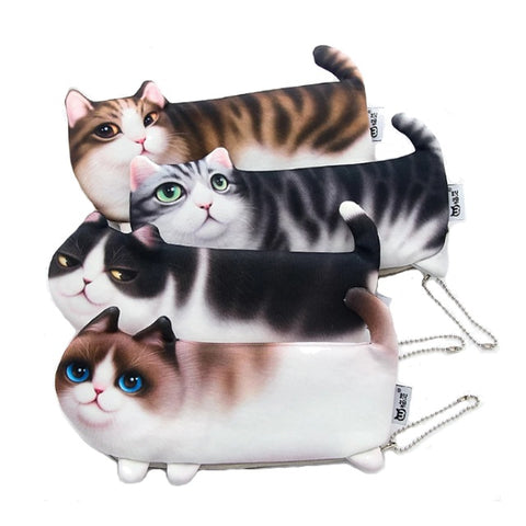 "Cartoon Cat Shape Pencil Bag Case (8"")"
