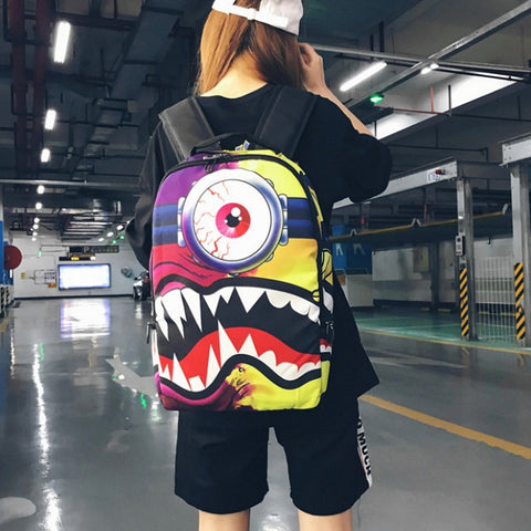"One-Eyed Split Face Monster Minion Backpack (17"")"