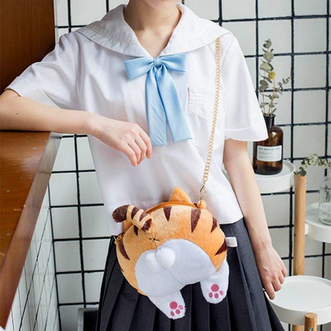 Plush Kitty Cat Butt Shoulder Bag