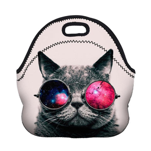 Insulated Neoprene Cool Cat Lunch Bag
