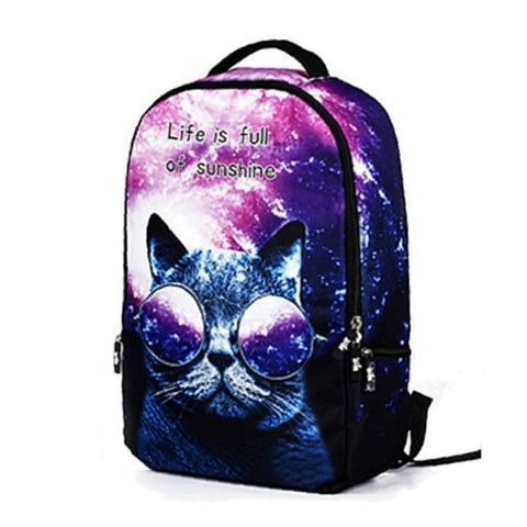 Purple Cat Backpack with Sunglasses